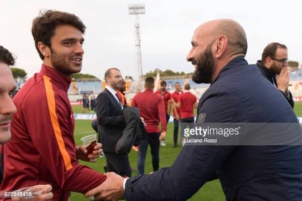 Roma player Clement Grenier meets new Sporting Director Monchi before the Serie A match between Pescara Calcio and AS Roma at Adriatico Stadium on...