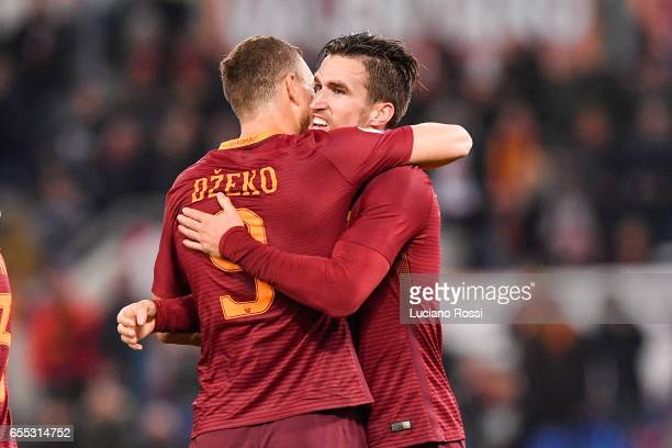 Roma player Edin Dzeko and Kevin Strootman celebrate the goal during the Serie A match between AS Roma and US Sassuolo at Stadio Olimpico on March 19...