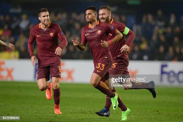 Roma player Emerson Palmieri celebrates during the UEFA Europa League Round of 32 first leg match between FC Villarreal and AS Roma at Estadio de la...