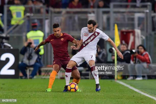 Roma player Emerson Palmieri competes with FC Torino player Davide Zappacosta during the Serie A match between AS Roma and FC Torino at Stadio...