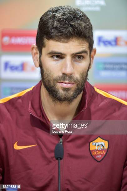 Roma player Federico Fazio attends an AS Roma press conference at El Madrigal on February 15 2017 in Villarreal Spain