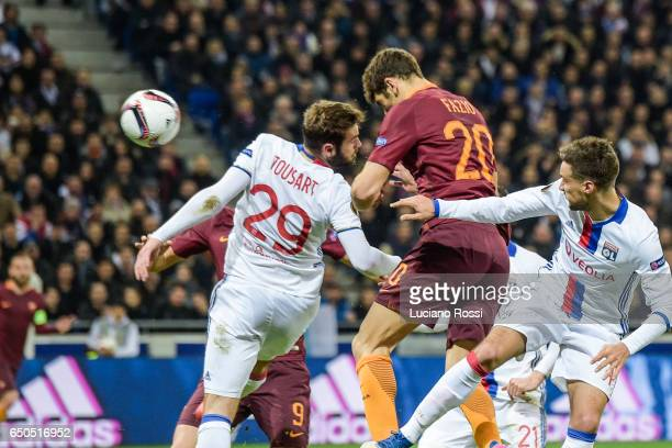 Roma player Federico Fazio scores the goal during the UEFA Europa League Round of 16 first leg match between Olympique Lyon and AS Roma at Parc...