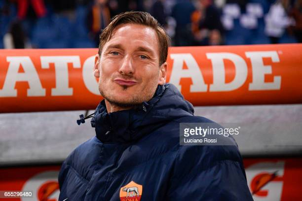 Roma player Francesco Totti before the Serie A match between AS Roma and US Sassuolo at Stadio Olimpico on March 19 2017 in Rome Italy