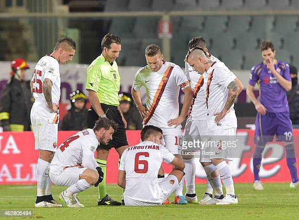 Roma player Kevin Strootman lies injured during the Serie A match between ACF Fiorentina and AS Roma at Stadio Artemio Franchi on January 25 2015 in...