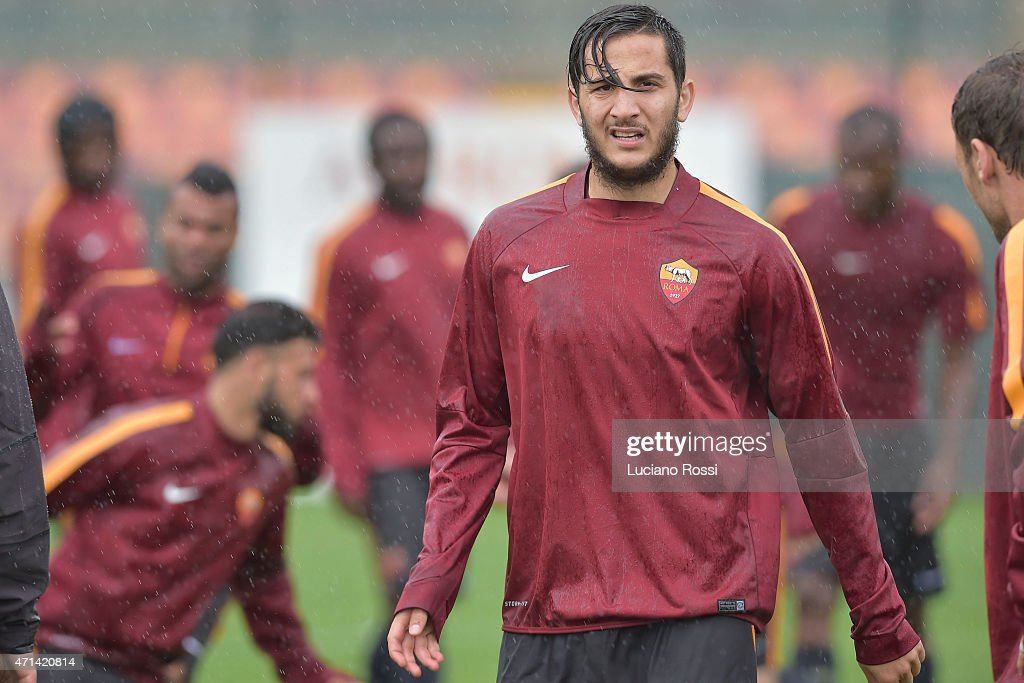 AS Roma player Konstantinos Manolas during a training session on April 28, 2015 in Rome, Italy.