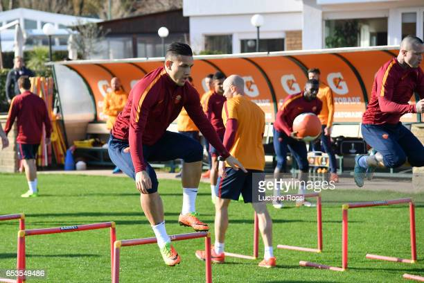Roma player Leandro Paredes during training session at Centro Sportivo Fulvio Bernardini on March 15 2017 in Rome Italy