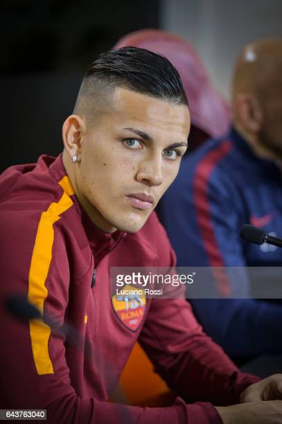 Roma player Leandro Paredesattends an AS Roma press conference at Centro Sportivo Fulvio Bernardini on February 22 2017 in Rome Italy