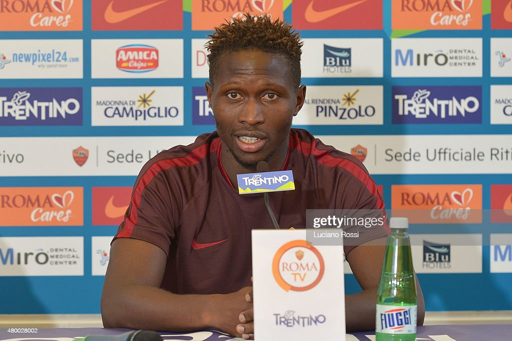 AS Roma player Mapou Yanga Mbiwa during the press conference on July 9, 2015 in Pinzolo near Trento, Italy.