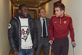 Roma player Seydou Doumbia meets his new teammate Kevin Strootman at Centro Sportivo Fulvio Bernardini on February 13 2015 in Rome Italy
