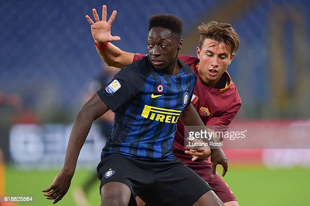 Roma player Sidy Luca Pellegrini is challenge by FC Internazionale player Axel Mohamed Bakayoko during the Primavera Supercup match between AS Roma...