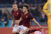 Roma player Stephan El Shaarawy and Radja Nainggolan celebrate the goal during the Serie A match between AS Roma and Frosinone Calcio at Stadio...