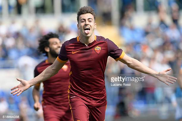 Roma player Stephan El Shaarawy celebrates during the Serie A match between SS Lazio and AS Roma at Stadio Olimpico on April 3 2016 in Rome Italy