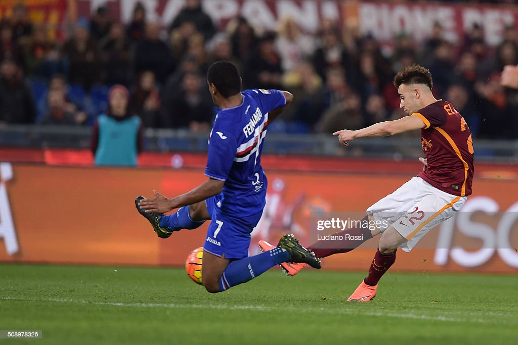 AS Roma player <a gi-track='captionPersonalityLinkClicked' href=/galleries/search?phrase=Stephan+El+Shaarawy&family=editorial&specificpeople=7181554 ng-click='$event.stopPropagation()'>Stephan El Shaarawy</a> (R) in action during the Serie A match between AS Roma and UC Sampdoria at Stadio Olimpico on February 7, 2016 in Rome, Italy.