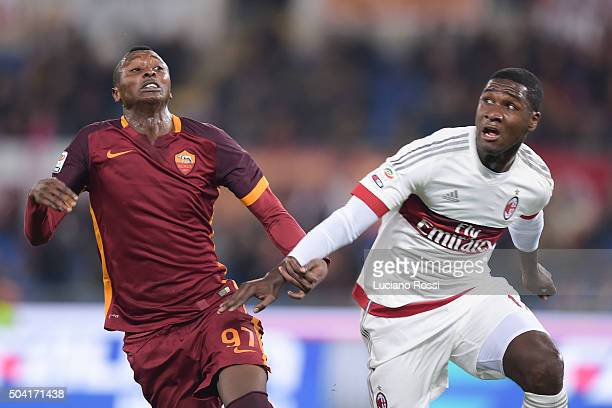 Roma player Umar Sadiq competes with AC Milan player Christian Zapata during the Serie A match between AS Roma and AC Milan at Stadio Olimpico on...