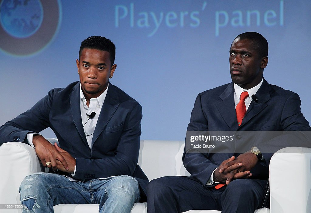 AS Roma player Urby Emanuelson and Former Netherlands international and AC Milan player Clarence Seedorf attend a UEFA Conference 'Respect Diversity'...