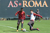 Roma players Ashley Cole and Davide Astori during an AS Roma training session at Centro Sportivo Fulvio Bernardini on April 8 2015 in Rome Italy