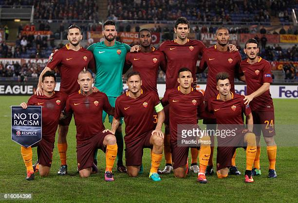 Roma players back row from left Kostas Manolas Alisson Gerson Federico Fazio Juan Jesus Alessandro Florenzi front row from left Juan Manuel Iturbe...