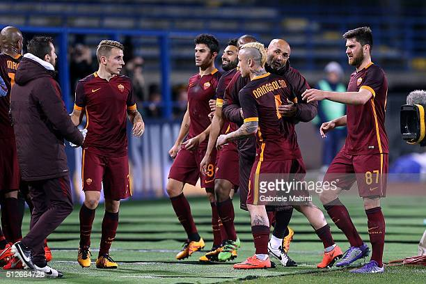 Roma players celebrate a goal scored by Miralem Pjanic during the Serie A match between Empoli FC and AS Roma at Stadio Carlo Castellani on February...