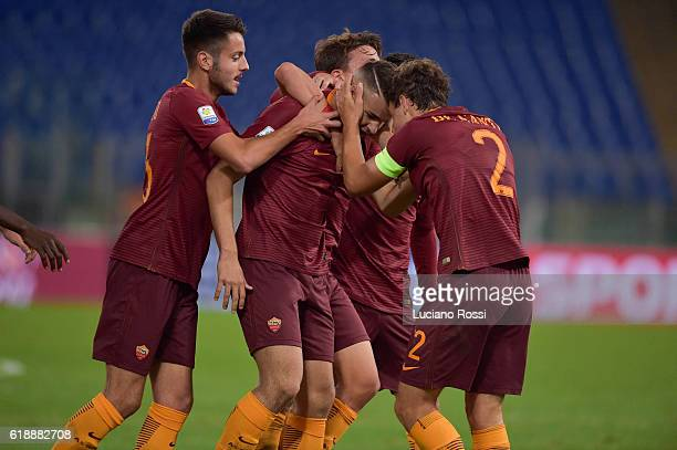 Roma players celebrate after goal scored by Marco Tumminello during the Primavera Supercup match between AS Roma and FC Internazionale at Olimpico...