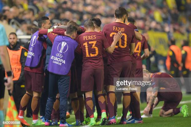Roma players celebrate after the goal scored by Emerson Palmieri during the UEFA Europa League Round of 32 first leg match between FC Villarreal and...