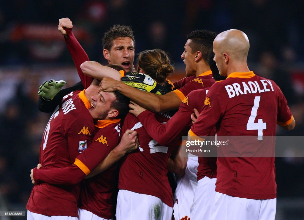 AS Roma players celebrate the victory during the Serie A match between AS Roma and Juventus FC at Stadio Olimpico on February 16, 2013 in Rome, Italy.