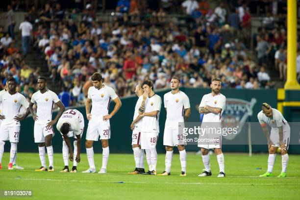 Roma players line midfield for penalty picks at the end of an International Champions Cup match between AS Roma and Paris SaintGermain on July 19...