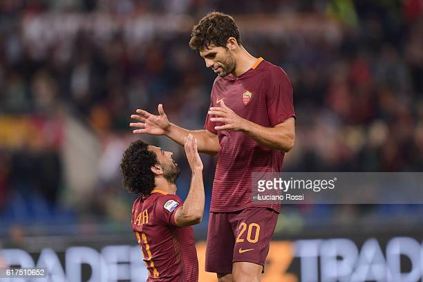 Roma players Mohamed Salah Federico Fazio celebrate the goal during the Serie A match between AS Roma and US Citta di Palermo at Stadio Olimpico on...