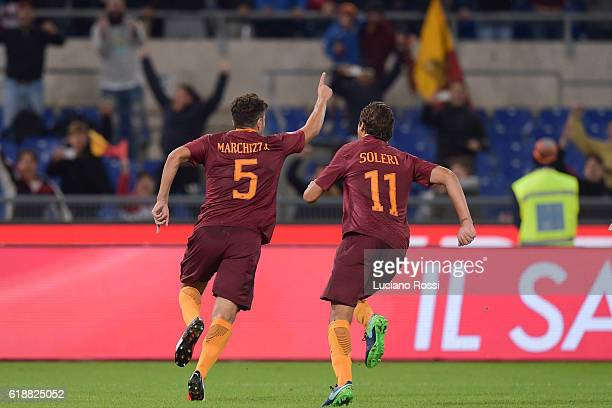 ROma players Riccardo Marchizza and Edoardo Soleri celebrate during the Primavera Supercup match between AS Roma and FC Internazionale at Olimpico...