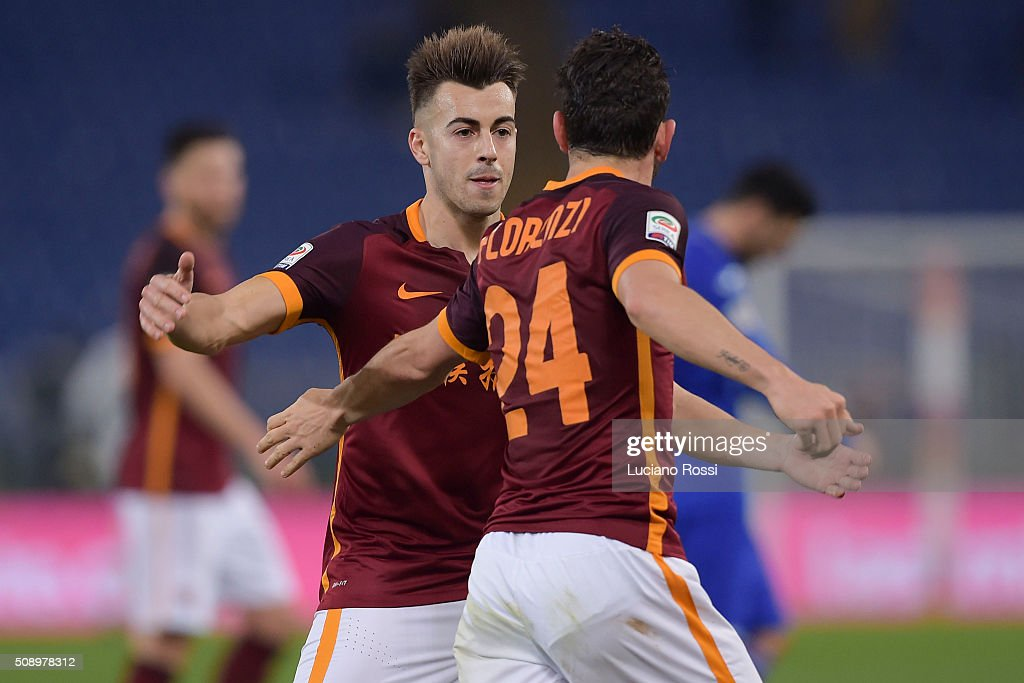 AS Roma players <a gi-track='captionPersonalityLinkClicked' href=/galleries/search?phrase=Stephan+El+Shaarawy&family=editorial&specificpeople=7181554 ng-click='$event.stopPropagation()'>Stephan El Shaarawy</a> and <a gi-track='captionPersonalityLinkClicked' href=/galleries/search?phrase=Alessandro+Florenzi&family=editorial&specificpeople=7349992 ng-click='$event.stopPropagation()'>Alessandro Florenzi</a> celebrate the goal during the Serie A match between AS Roma and UC Sampdoria at Stadio Olimpico on February 7, 2016 in Rome, Italy.