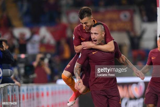 Roma players Stephan El Shaarawy and Radja Nainggolan celebrate the goal during the Serie A match between AS Roma and Juventus FC at Stadio Olimpico...