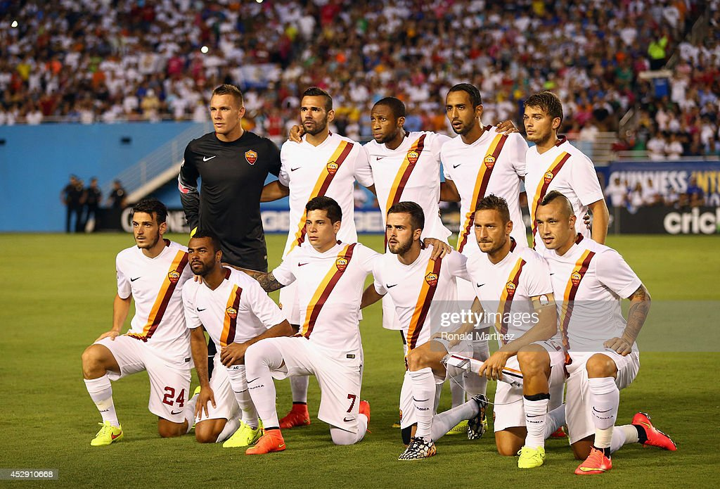 AS Roma poses for a photo before a Guinness International Champions Cup 2014 game at Cotton Bowl on July 29, 2014 in Dallas, Texas.