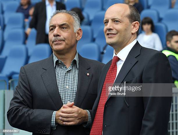 Roma President James Pallotta and General Manager Mauro Baldissoni look on during the Serie A match between AS Roma and Juventus at Stadio Olimpico...