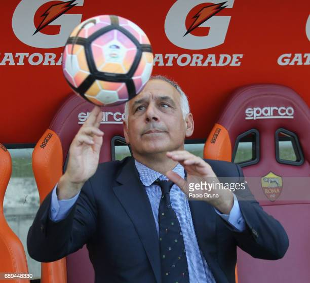 Roma President James Pallotta plays with the ball during the Serie A match between AS Roma and Genoa CFC at Stadio Olimpico on May 28 2017 in Rome...