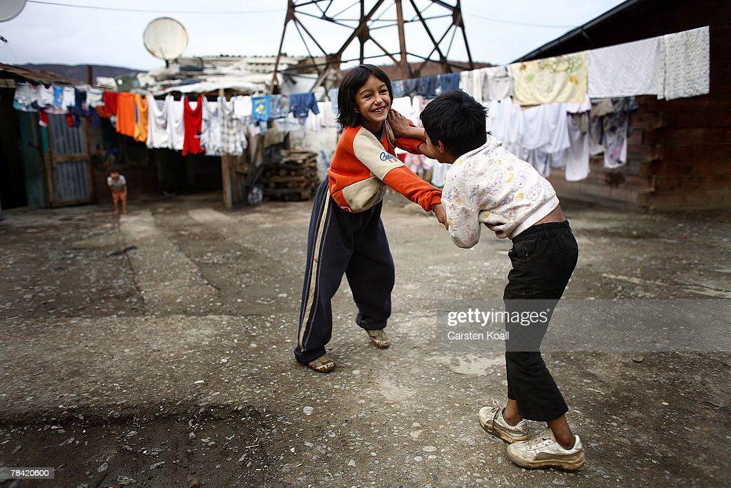 Roma refugees play in the Cesmin Lug refugee camp in the Serbian district December 12, 2007 in Kosovo province, Serbia. One hundred and fourty-four refugees live in the camp near toxic metal waste left by the Trepca mines, living in extremely poor conditions with no running water. Members of the Roma minority were forced to flee their homes in the Mahala district in southern Mitrovica during the Kosovo war in the 1999. They settled in the Serb-populated northern side of the divided province. Were independence to come to Kosovo, the north would continue as a Serbian enclave. Kosovo, administered by the United Nations since the 1990 conflict, is home to approximately 120,000 Serbs, who face an uncertain future should the province, with its majority Albanian population, become independent under a U.N. proposed plan.