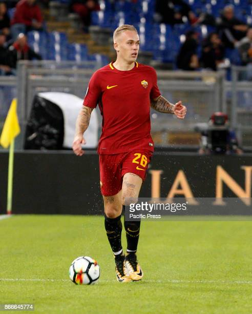 Roma Rick Karsdorp in action during the Serie A soccer match between Roma and Crotone at the Olympic stadium