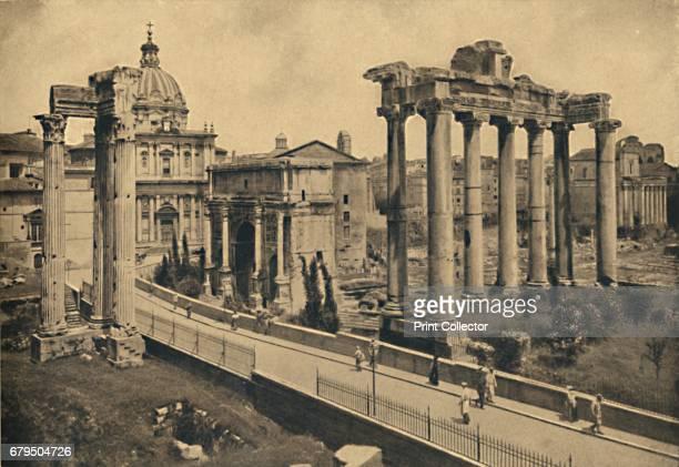 Roma Roman Forum' 1910 Three colums of the Temple of Vespasian Church of St Luke Arch of Severus Seven colums of the Temple of Saturn once the State...