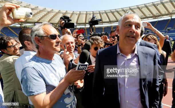 S Roma soccer club president James Pallotta speaks to the press members during the 'Open Goal' event on immigration and integration at the Olympic...