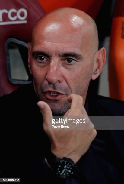 Roma Sport Director Monchi looks on during the Serie A match between AS Roma and FC Internazionale on August 26 2017 in Rome Italy