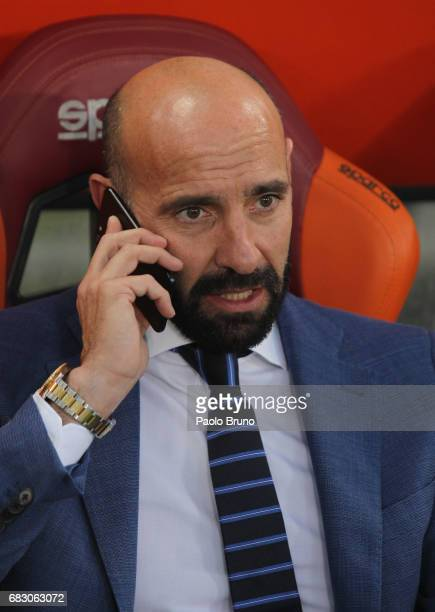 Roma sport director Monchi speaks with phone during the Serie A match between AS Roma and Juventus FC at Stadio Olimpico on May 14 2017 in Rome Italy