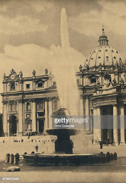 Roma St Peter's Square Fountain and facade by Carlo Maderno Cupola by Michelangelo' 1910 From Cento Vedute Classiche di Roma [Enrico Verdesi Rome...