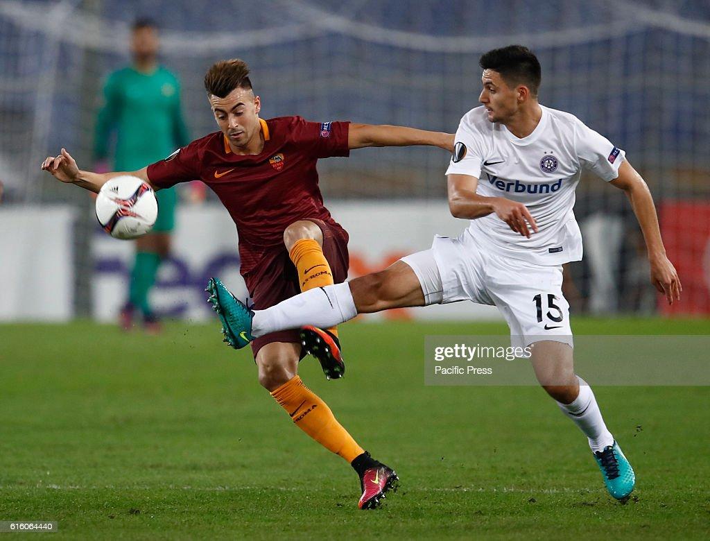 Roma Stephan El Shaarawy left and Austria Wien Tarkan