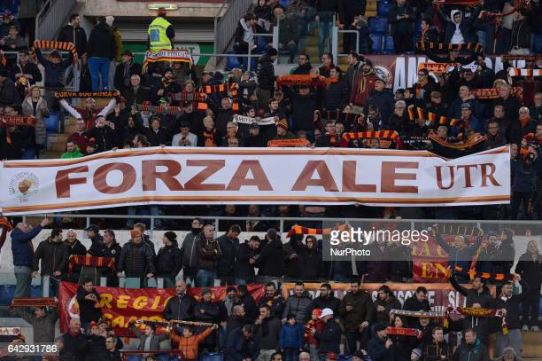 AS Roma supporter's for Alessandro Florenzi during the Italian Serie A football match between AS Roma and FC Torino at the Olympic Stadium in Rome on...