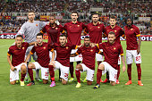Roma team poses before the preseason friendly match between AS Roma and Fenerbahce SK at Stadio Olimpico on August 19 2014 in Rome Italy