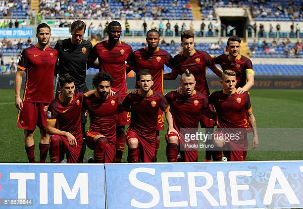 Roma team poses during the Serie A match between SS Lazio and AS Roma at Stadio Olimpico on April 3 2016 in Rome Italy