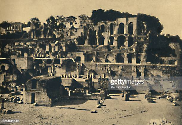 Roma The Ruins of the house of Caligula towering above the House of the Vestal Virgins' 1910 From Cento Vedute Classiche di Roma [Enrico Verdesi Rome...