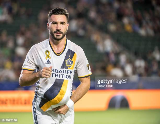 Romain Alessandrini of Los Angeles Galaxy celebrates his penalty kick goal during the Los Angeles Galaxy's MLS match against Colorado Rapids at the...