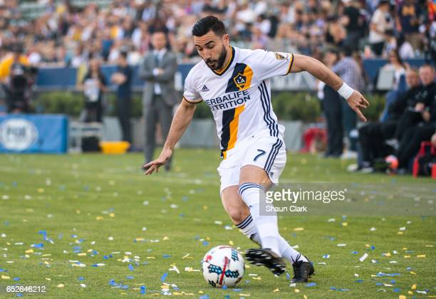 Romain Alessandrini of Los Angeles Galaxy during Los Angeles Galaxy's MLS match against Portland Timbers at the StubHub Center on March 12 2017 in...