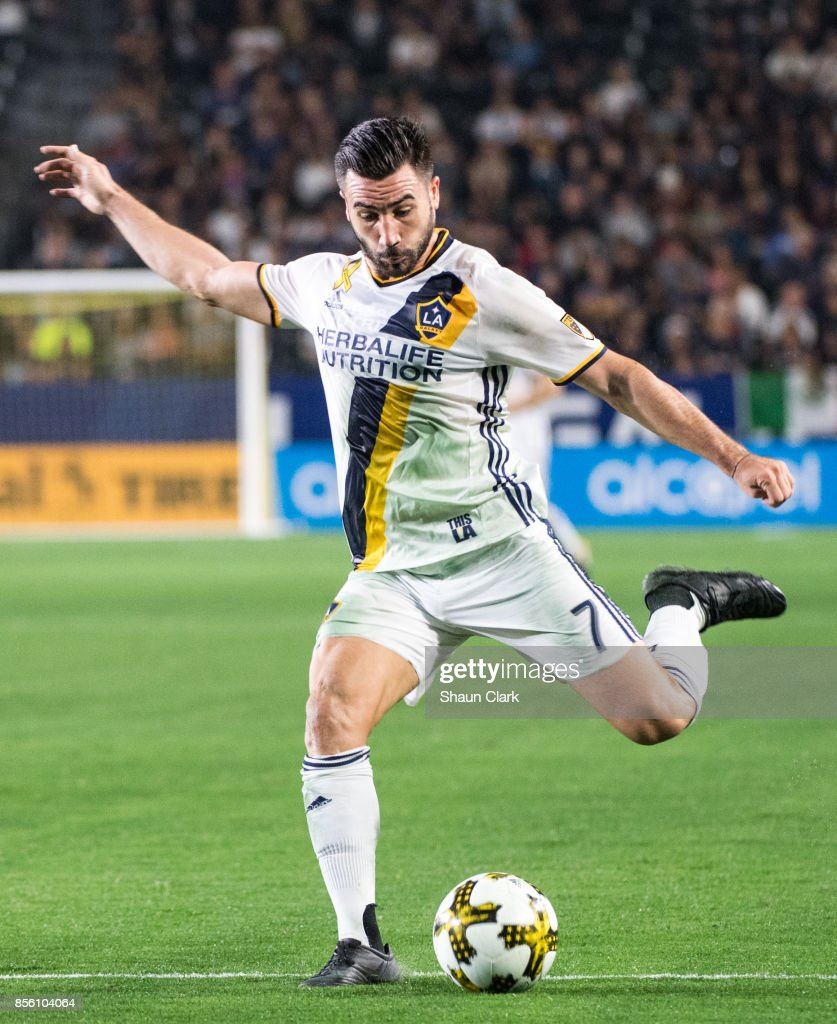 Romain Alessandrini #7 of Los Angeles Galaxy during the Los Angeles Galaxy's MLS match against Real Salt Lake at the StubHub Center on September 30, 2017 in Carson, California. The match ended in a 1-1 tie.