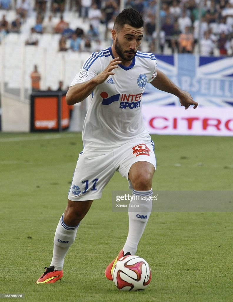 <a gi-track='captionPersonalityLinkClicked' href=/galleries/search?phrase=Romain+Alessandrini&family=editorial&specificpeople=9572619 ng-click='$event.stopPropagation()'>Romain Alessandrini</a> of Olympique de Marseille FC during the French Ligue 1 between Olympique de Marseille FC and Montpellier Herault FC at Stade Velodrome on August 17, 2014 in Marseille, France.