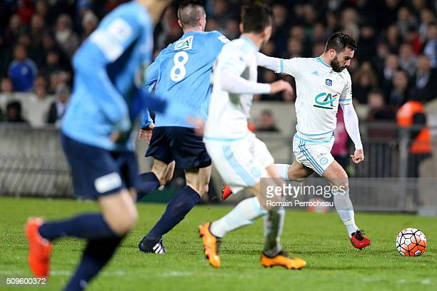 Romain Alessandrini of Olympique de Marseille scores a goal during the French Cup match between Trelissac FC and Olympique de Marseille at Stade...